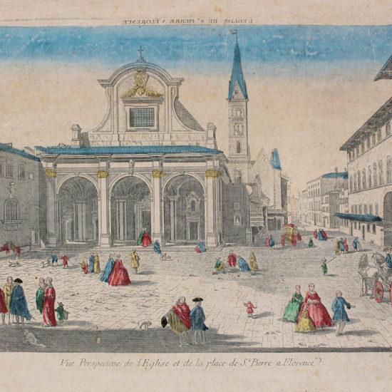 Vue perspective de l'église et de la place de St. Pierre à Florence